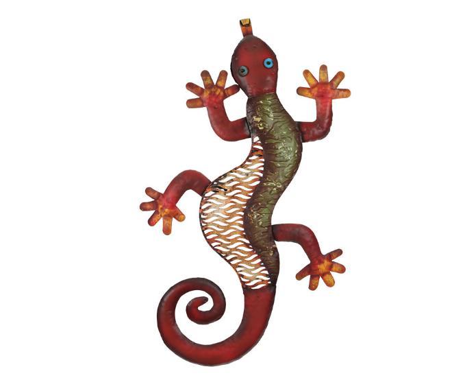Kovová ještěrka na zeď 68cm